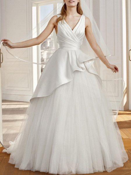 A-Line Wedding Dresses V Neck Sweep \ Brush Train Satin Tulle Sleeveless Vintage Sexy Wedding Dress in Color Backless_1
