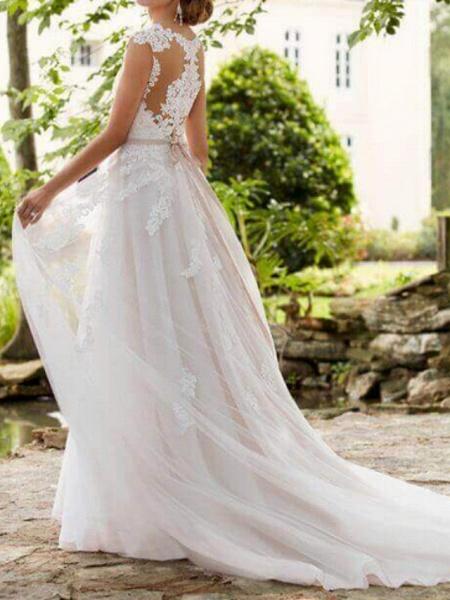 A-Line Wedding Dresses V Neck Sweep \ Brush Train Lace Tulle Regular Straps Formal Mordern Illusion Detail_2