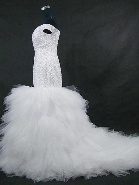 Mermaid \ Trumpet Off Shoulder Court Train Tulle Sequined Strapless Glamorous Vintage Sparkle & Shine Wedding Dresses_2