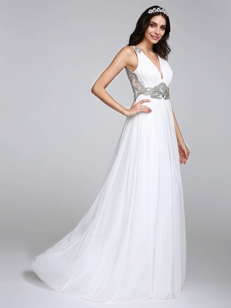 A-Line Wedding Dresses V Neck Sweep \ Brush Train Chiffon Regular Straps Country Romantic Glamorous Sparkle & Shine Plus Size Backless_7