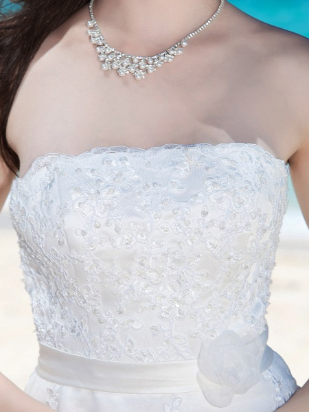 Sheath \ Column Wedding Dresses Strapless Tea Length Organza Sleeveless Little White Dress_7