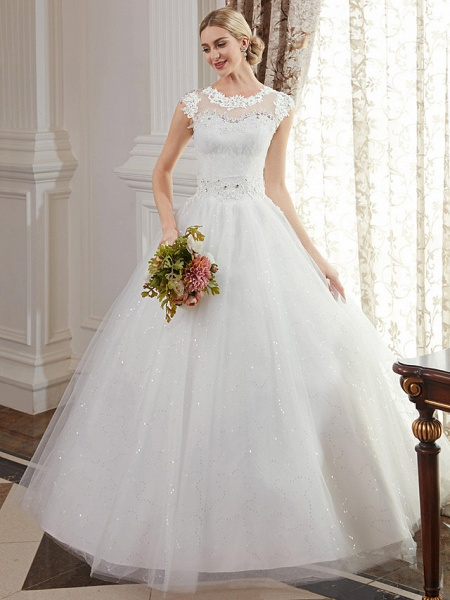 Ball Gown Wedding Dresses Jewel Neck Floor Length Lace Over Tulle Cap Sleeve Romantic Illusion Detail_4
