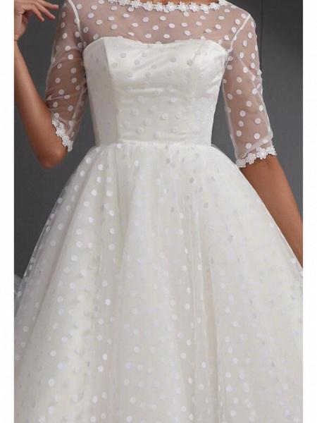 A-Line Wedding Dresses Jewel Neck Knee Length Lace Tulle Half Sleeve Vintage Little White Dress 1950s_3