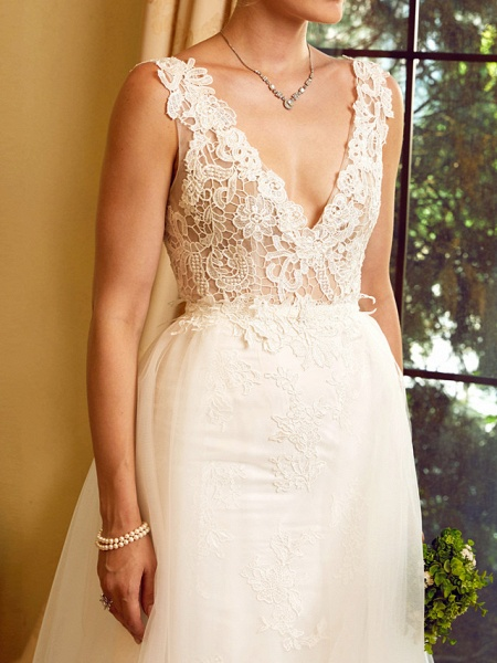 Sheath \ Column V Neck Chapel Train Lace Tulle Regular Straps See-Through Wedding Dresses_9