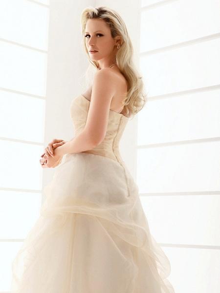 Princess A-Line Wedding Dresses Strapless Floor Length Organza Sleeveless Wedding Dress in Color_8