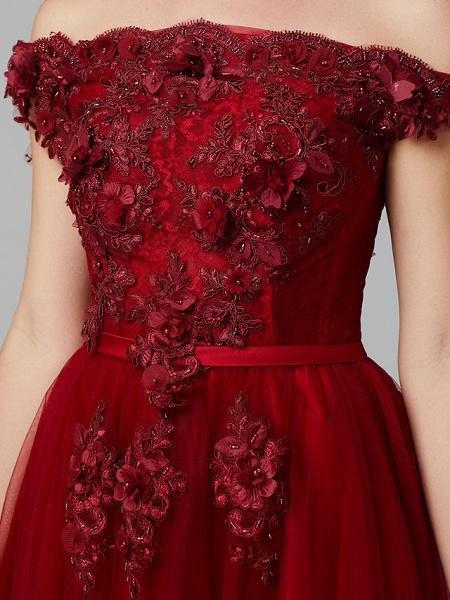 A-Line Floral Pink Prom Formal Evening Dress Off Shoulder Sleeveless Sweep \ Brush Train Tulle Over Lace_16