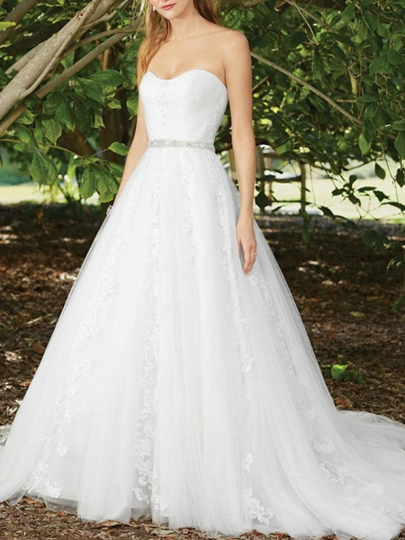 A-Line Wedding Dresses Sweetheart Neckline Court Train Lace Sleeveless Sexy Wedding Dress in Color_1