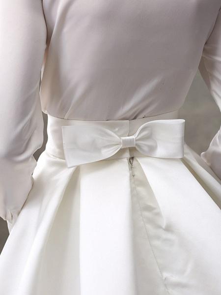 Ball Gown Wedding Dresses High Neck Sweep \ Brush Train Satin Long Sleeve Glamorous Sparkle & Shine_12
