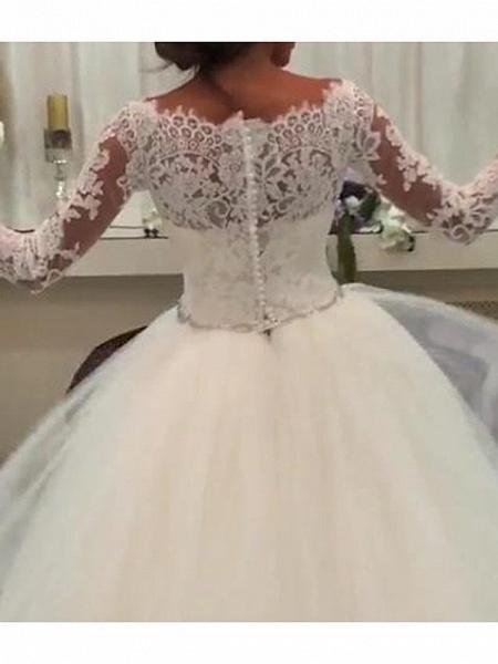 A-Line Wedding Dresses Jewel Neck Sweep \ Brush Train Lace Tulle 3\4 Length Sleeve Formal Illusion Sleeve_2