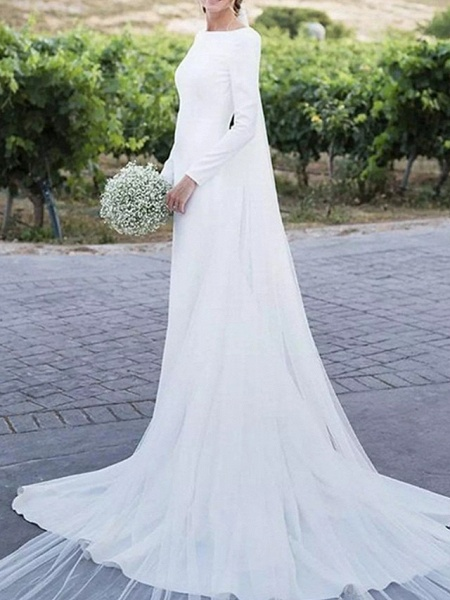 A-Line Wedding Dresses Off Shoulder Sweep \ Brush Train Satin Long Sleeve Formal Plus Size Elegant_3