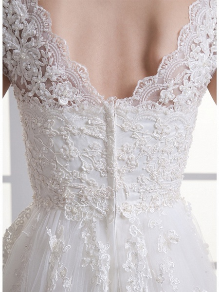 A-Line Sweetheart Neckline Court Train Lace Satin Tulle Cap Sleeve Wedding Dresses_6