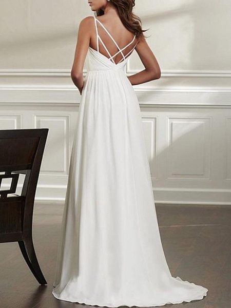 A-Line Wedding Dresses Spaghetti Strap Sweep \ Brush Train Chiffon Over Satin Sleeveless Simple Beach Sexy Backless_3