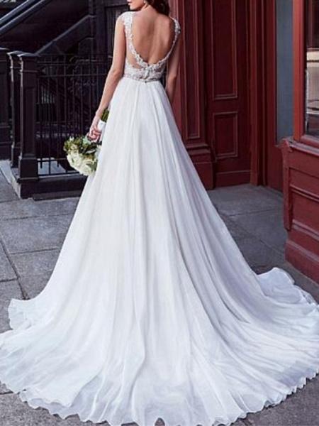 A-Line Wedding Dresses V Neck Court Train Chiffon Lace Regular Straps_2