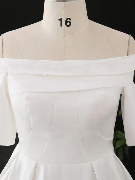 A-Line Wedding Dresses Off Shoulder Court Train Satin Half Sleeve Simple Elegant_7