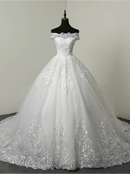 Ball Gown Wedding Dresses Off Shoulder Court Train Tulle Sequined Short Sleeve Glamorous Illusion Detail_1