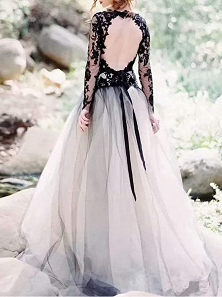 A-Line Wedding Dresses Plunging Neck Sweep \ Brush Train Polyester Long Sleeve Country Plus Size_2