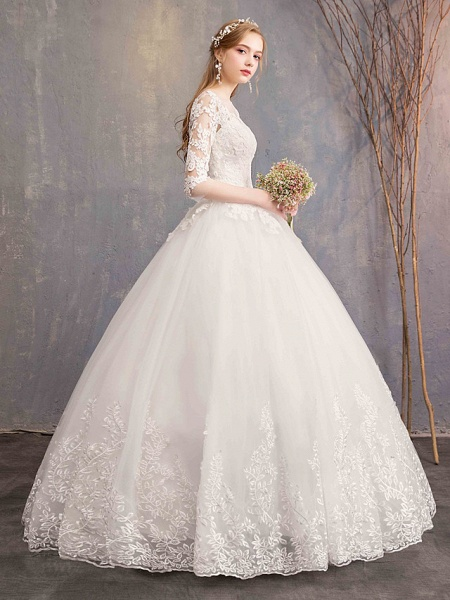 Ball Gown Wedding Dresses Bateau Neck Maxi Lace Tulle Half Sleeve Glamorous Illusion Sleeve_3