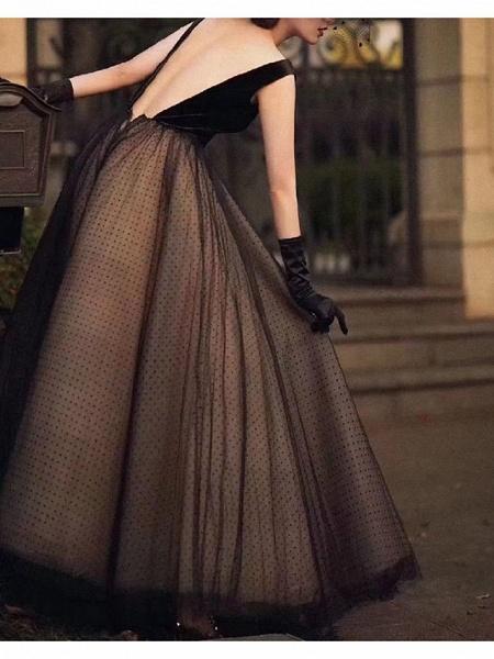 A-Line Wedding Dresses V Neck Floor Length Lace Long Sleeve Formal Black_2