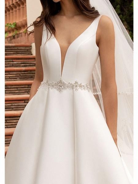 A-Line Wedding Dresses V Neck Court Train Satin Spaghetti Strap Simple Sparkle & Shine Backless_3
