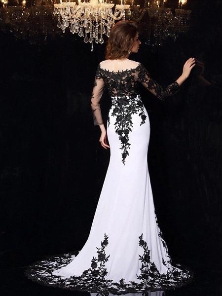 Mermaid \ Trumpet Wedding Dresses Bateau Neck Sweep \ Brush Train Lace Tulle Lace Over Satin Long Sleeve Sexy Black Illusion Sleeve_3
