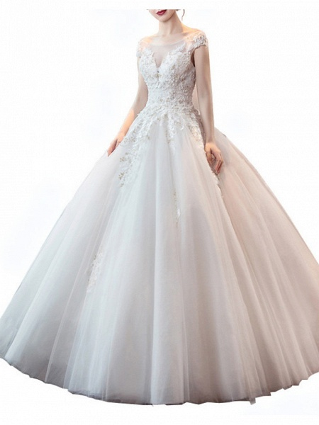 Ball Gown Wedding Dresses Jewel Neck Floor Length Lace Tulle Sleeveless Formal Plus Size_4