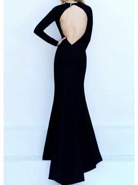 Mermaid \ Trumpet Wedding Dresses V Neck Floor Length Satin Long Sleeve Formal Black_3