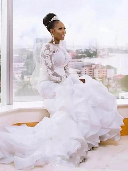 Mermaid \ Trumpet Wedding Dresses Jewel Neck Court Train Lace Organza Tulle Long Sleeve Romantic Plus Size Illusion Sleeve_2