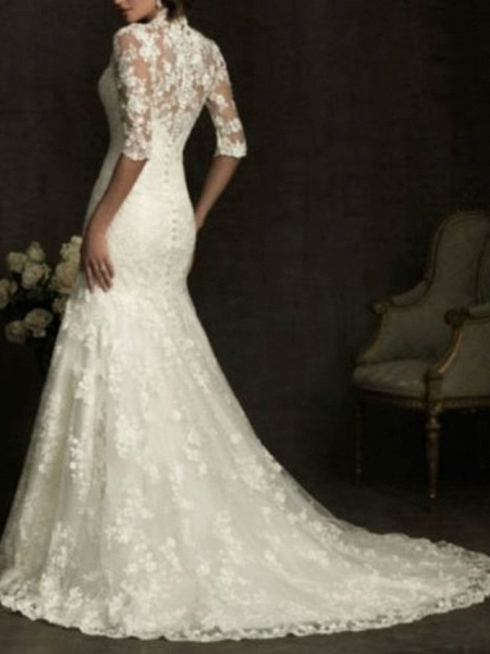 Sheath \ Column Wedding Dresses V Neck Sweep \ Brush Train Lace Half Sleeve Illusion Sleeve_2