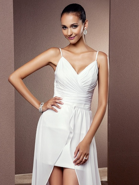Sheath \ Column Wedding Dresses V Neck Asymmetrical Chiffon Sleeveless_5