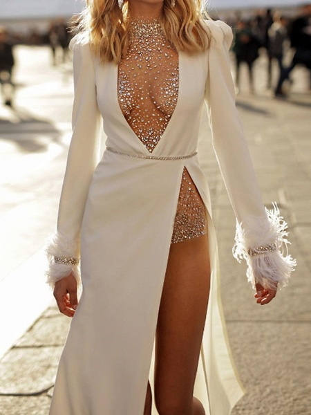 Two Piece Wedding Dresses High Neck Plunging Neck Floor Length Polyester Long Sleeve Sexy Plus Size_2