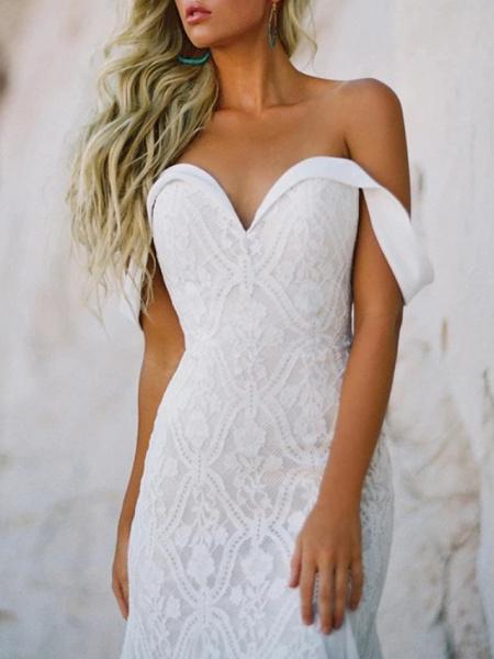 Mermaid \ Trumpet Wedding Dresses Sweetheart Neckline Sweep \ Brush Train Lace Satin Short Sleeve Vintage Sexy Backless_6
