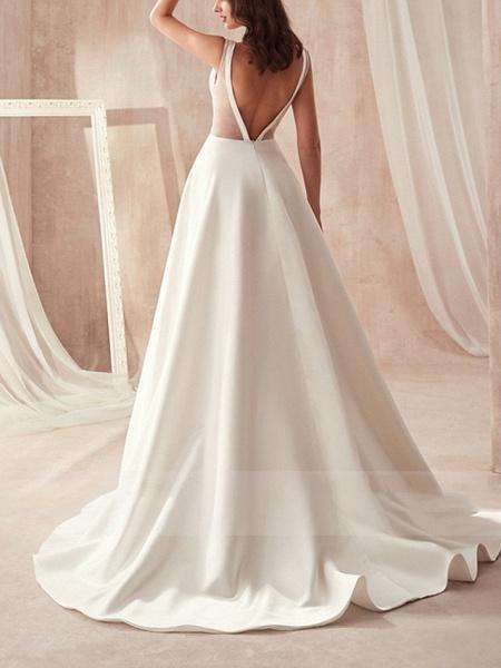A-Line Wedding Dresses V Neck Sweep \ Brush Train Satin Sleeveless Formal_2