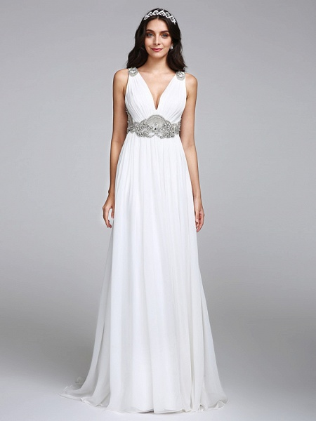 A-Line Wedding Dresses V Neck Sweep \ Brush Train Chiffon Regular Straps Country Romantic Glamorous Sparkle & Shine Plus Size Backless_3