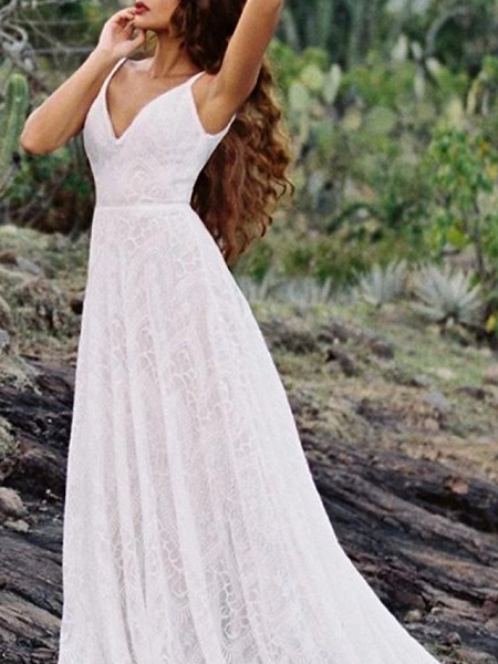 A-Line Wedding Dresses Spaghetti Strap Sweep \ Brush Train Lace Sleeveless Beach Vintage Sexy Wedding Dress in Color Backless_3