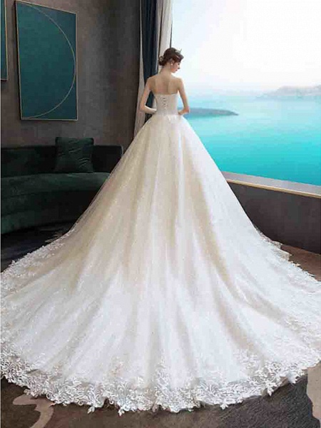 Ball Gown Wedding Dresses Strapless Court Train Tulle Strapless Country Glamorous Illusion Detail_2