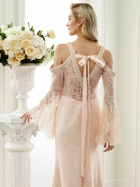 Sheath \ Column Wedding Dresses Plunging Neck Sweep \ Brush Train Sheer Lace Long Sleeve Wedding Dress in Color Open Back Floral Lace_7