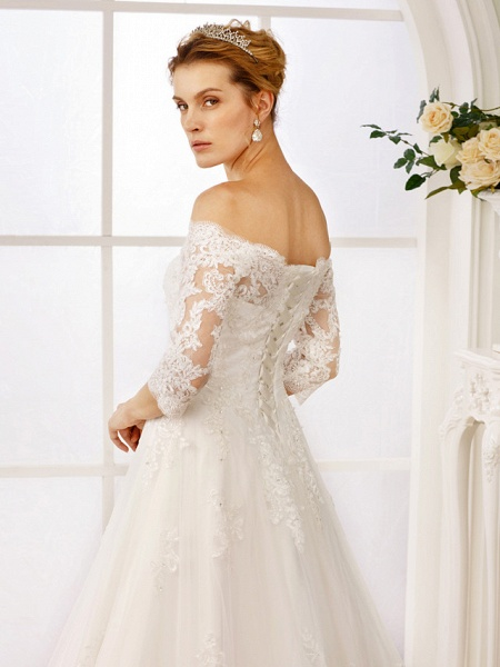 A-Line Off Shoulder Floor Length Lace Tulle Lace Over Tulle 3\4 Length Sleeve Floral Lace Illusion Sleeve Wedding Dresses_7