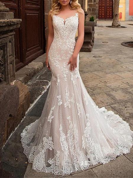 Mermaid \ Trumpet Jewel Neck Sweep \ Brush Train Detachable Lace Tulle Chiffon Over Satin Sleeveless Formal Sexy See-Through Wedding Dresses_3