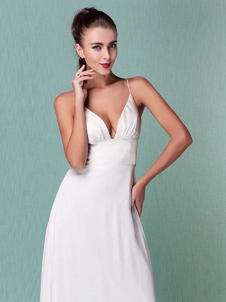 Sheath \ Column Wedding Dresses V Neck Floor Length Chiffon Spaghetti Strap Sexy Backless_3
