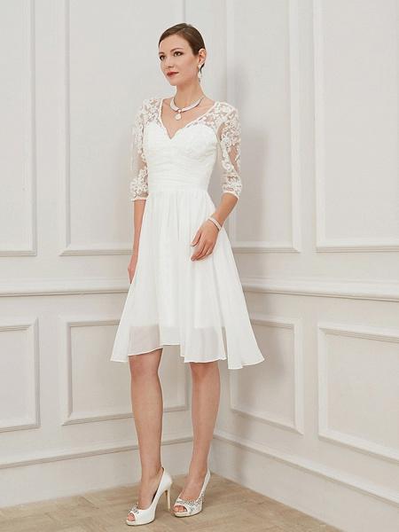 A-Line Wedding Dresses V Neck Knee Length Chiffon Lace Half Sleeve Formal Plus Size Illusion Sleeve_1