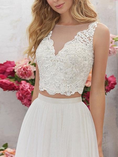 Lt7928518 V-neck Beading Belt Boho Wedding Dress_2