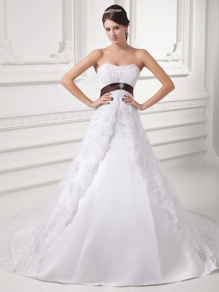 A-Line Strapless Chapel Train Lace Satin Tulle Strapless Wedding Dresses_1