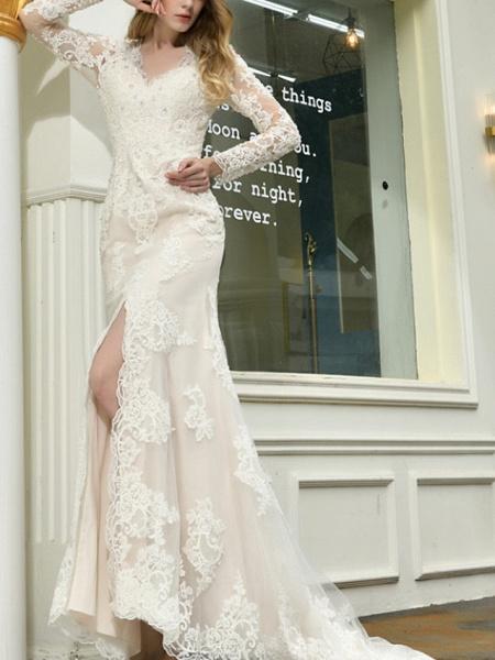 Mermaid \ Trumpet V Neck Sweep \ Brush Train Lace Tulle Long Sleeve Casual Plus Size Illusion Sleeve Wedding Dresses_3