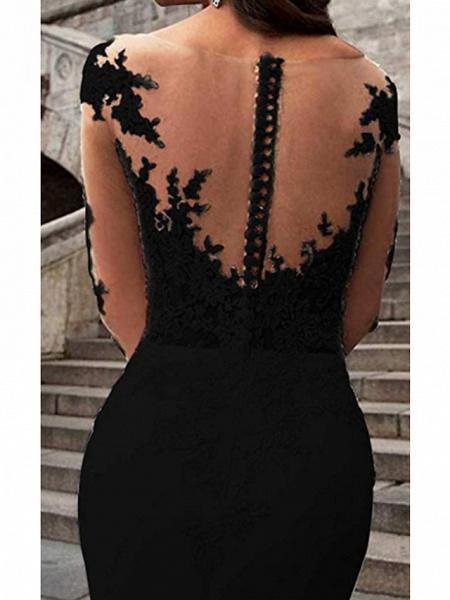 Mermaid \ Trumpet Wedding Dresses V Neck Sweep \ Brush Train Polyester Long Sleeve Formal Plus Size Black Modern_3