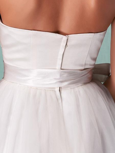 A-Line Wedding Dresses Halter Neck Knee Length Satin Tulle Regular Straps Casual Vintage Little White Dress Plus Size_10