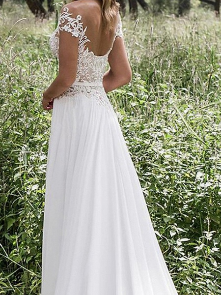 A-Line Wedding Dresses Jewel Neck Sweep \ Brush Train Chiffon Lace Short Sleeve Beach Sexy_2