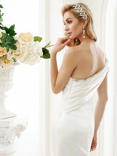 Mermaid \ Trumpet Wedding Dresses One Shoulder Sweep \ Brush Train Stretch Satin Regular Straps Simple Sexy Modern Elegant_7