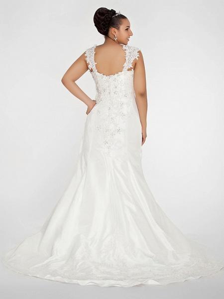 Mermaid \ Trumpet Wedding Dresses Square Neck Court Train Chiffon Regular Straps Vintage Sparkle & Shine Plus Size_4