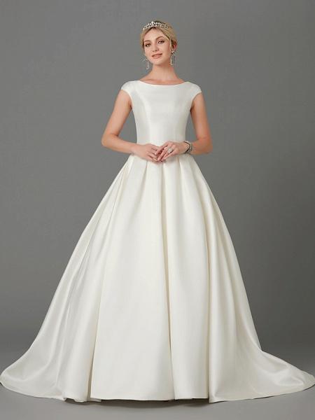 Princess Wedding Dresses Bateau Neck Court Train Satin Short Sleeve_4