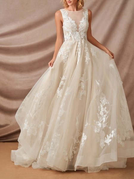 Mermaid \ Trumpet Jewel Neck Chapel Train Lace Sleeveless Formal Wedding Dresses_4